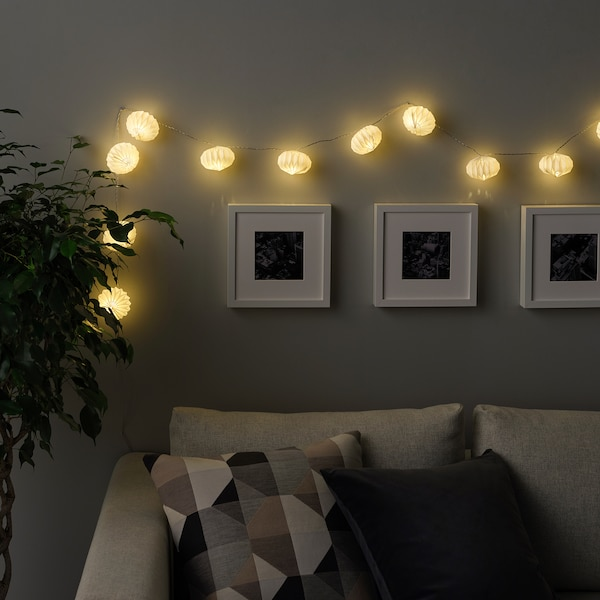 STRÅLA LED string light with 12 lights, battery operated/origami white