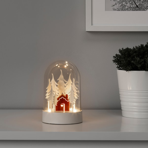 STRÅLA LED table decoration, cabin in the forest red/white