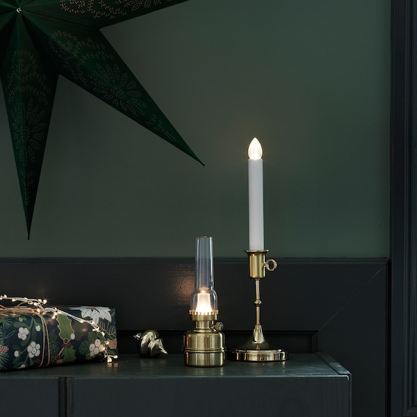 STRÅLA LED table lamp, battery operated/brass color