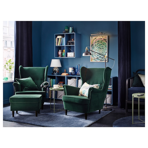 Awe Inspiring Ottoman Strandmon Djuparp Dark Green Gmtry Best Dining Table And Chair Ideas Images Gmtryco