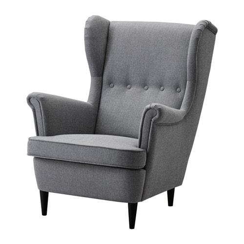 STRANDMON Wing chair, Nordvalla dark gray Nordvalla dark gray