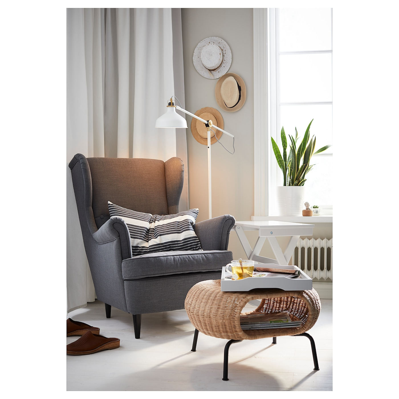 STRANDMON - Wing chair, Skiftebo light beige