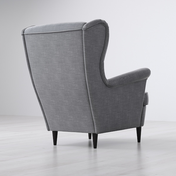 STRANDMON Wing chair, Nordvalla dark gray