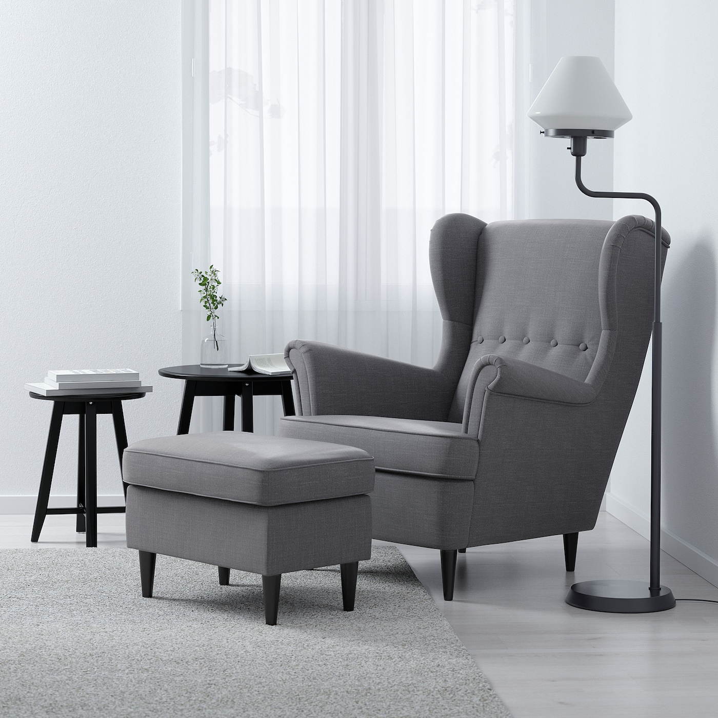 STRANDMON Wing chair - Nordvalla dark gray