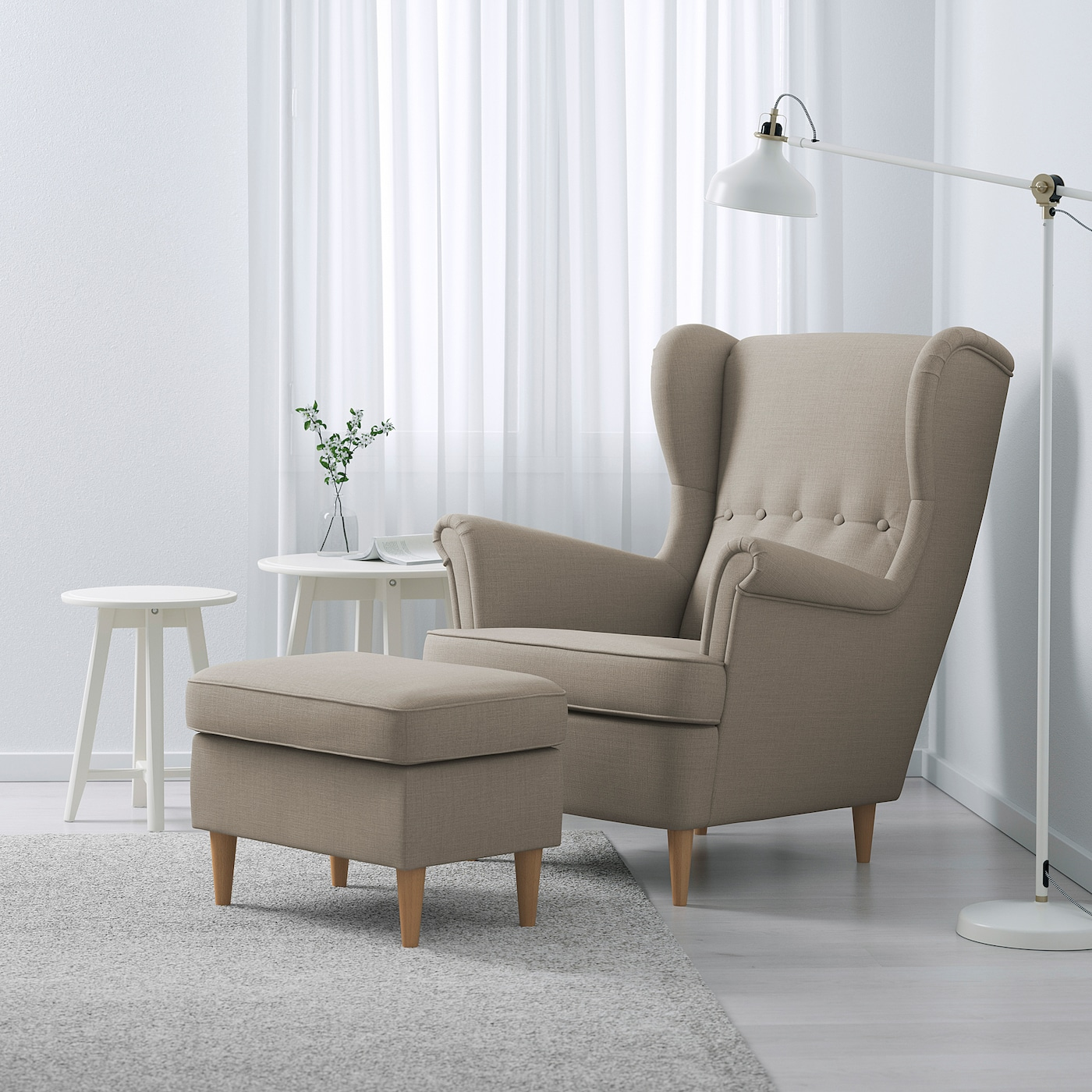 STRANDMON Wing chair, Skiftebo light beige