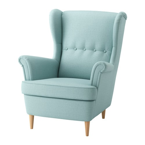 STRANDMON Wing chair, Skiftebo light turquoise Skiftebo light turquoise