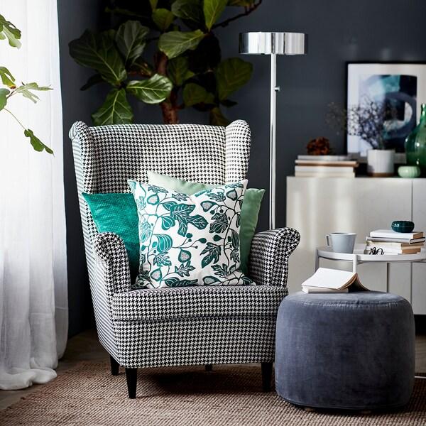 STRANDMON Wing chair, Vibberbo black/beige