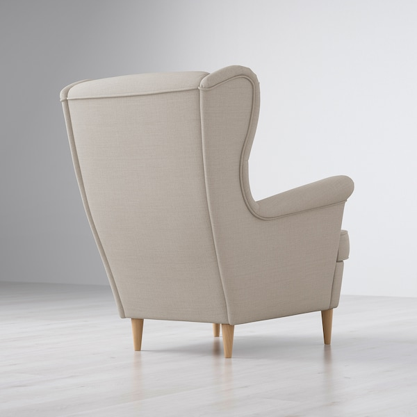 "STRANDMON wing chair Skiftebo light beige 32 1/4 "" 37 3/4 "" 39 3/4 "" 19 1/4 "" 21 1/4 "" 17 3/4 """
