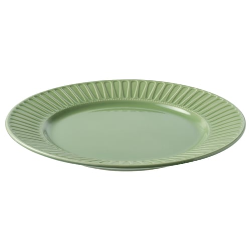 """STRIMMIG plate stoneware/green 10 ½ """""""