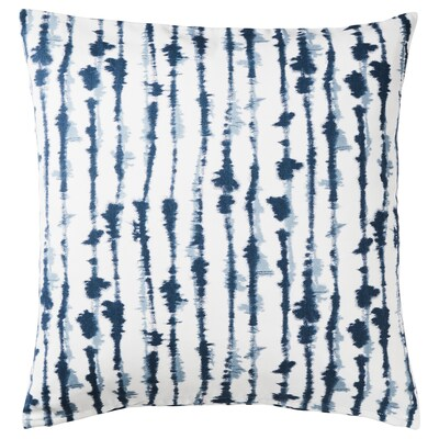 "STRIMSPORRE cushion cover white/blue 20 "" 20 """