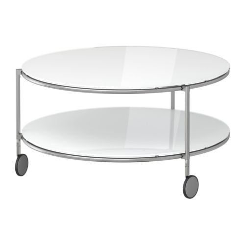"STRIND Coffee table, white, nickel plated Diameter: 29 1/2 "" Height: 15 3/4 "" Max. load: 33 lb  Diameter: 75 cm Height: 40 cm Max. load: 15 kg"