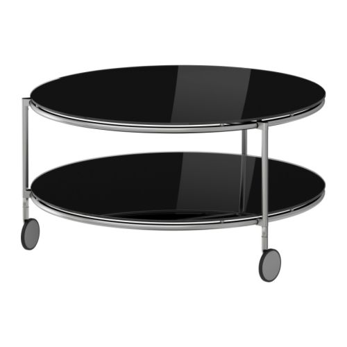 "STRIND Coffee table, black, nickel plated Diameter: 29 1/2 "" Height: 15 3/4 "" Max. load: 33 lb  Diameter: 75 cm Height: 40 cm Max. load: 15 kg"
