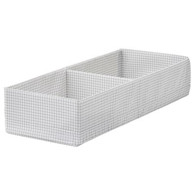 "STUK Box with compartments, white/gray, 7 ¾x20x4 """