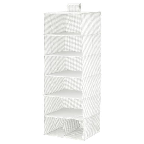 "STUK Storage with 7 compartments, white/gray, 11 ¾x11 ¾x35 ½ """