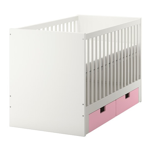 STUVA Crib with drawers, pink