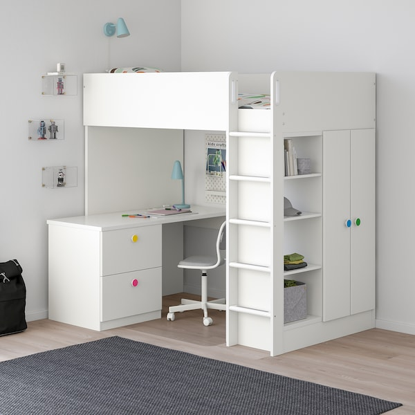 "STUVA / FÖLJA loft bed with 2 drawers/2 doors white 57 1/8 "" 24 3/8 "" 29 1/8 "" 71 5/8 "" 55 7/8 "" 41 1/2 "" 77 1/2 "" 220 lb 74 3/4 "" 38 "" 8 1/4 """