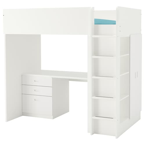 "STUVA / FRITIDS loft bed with 3 drawers/2 doors white/white 57 1/8 "" 24 3/8 "" 29 1/8 "" 71 5/8 "" 55 7/8 "" 41 1/2 "" 77 1/2 "" 220 lb 74 3/8 "" 38 "" 8 1/4 """