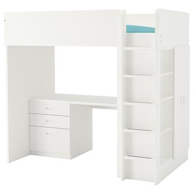 "STUVA / FRITIDS loft bed with 3 drawers/2 doors white/white 57 1/8 "" 24 3/8 "" 29 1/8 "" 71 5/8 "" 55 7/8 "" 41 1/2 "" 77 1/2 "" 220 lb 74 3/8 "" 38 "" 8 1/4 """