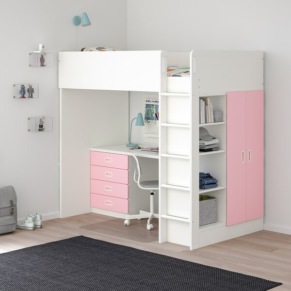 """STUVA / FRITIDS loft bed with 4 drawers/2 doors white/light pink 57 1/8 """" 24 3/8 """" 29 1/8 """" 71 5/8 """" 55 7/8 """" 41 1/2 """" 77 1/2 """" 220 lb 74 3/8 """" 38 """" 8 1/4 """""""
