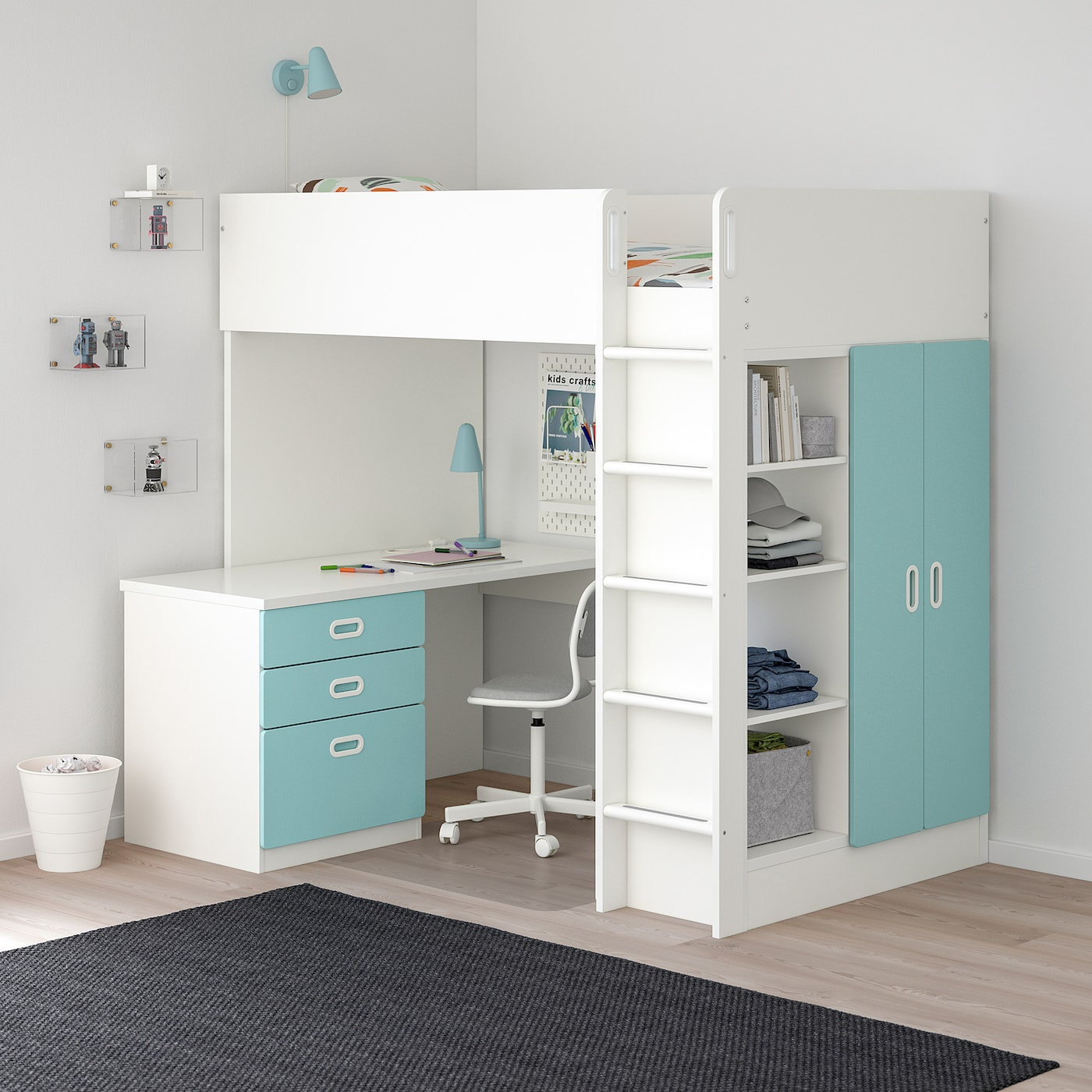 Stuva Fritids Loft Bed With 3 Drawers 2 Doors White Light Blue Twin Ikea