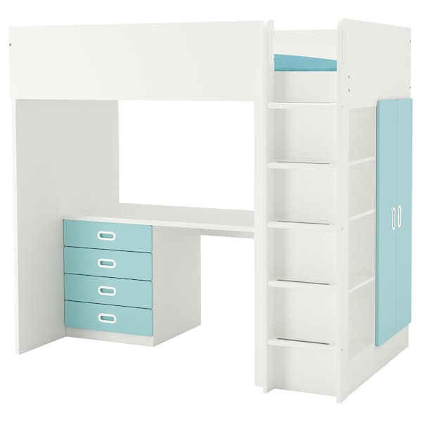STUVA / FRITIDS Loft bed with 4 drawers/2 doors, white/light blue, Twin