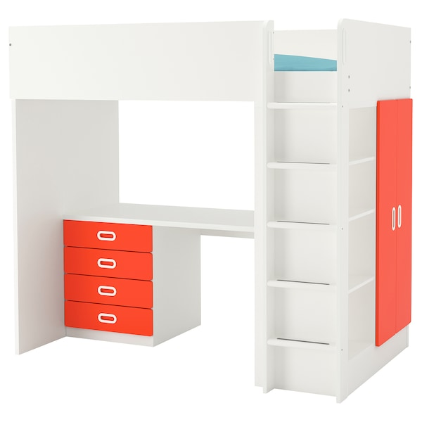 """STUVA / FRITIDS loft bed with 4 drawers/2 doors white/red 57 1/8 """" 24 3/8 """" 29 1/8 """" 71 5/8 """" 55 7/8 """" 41 1/2 """" 77 1/2 """" 220 lb 74 3/8 """" 38 """" 8 1/4 """""""