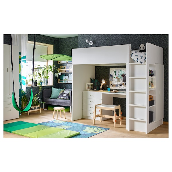 "STUVA / FRITIDS loft bed with 4 drawers/2 doors white/white 57 1/8 "" 24 3/8 "" 29 1/8 "" 71 5/8 "" 55 7/8 "" 41 1/2 "" 77 1/2 "" 220 lb 74 3/8 "" 38 "" 8 1/4 """