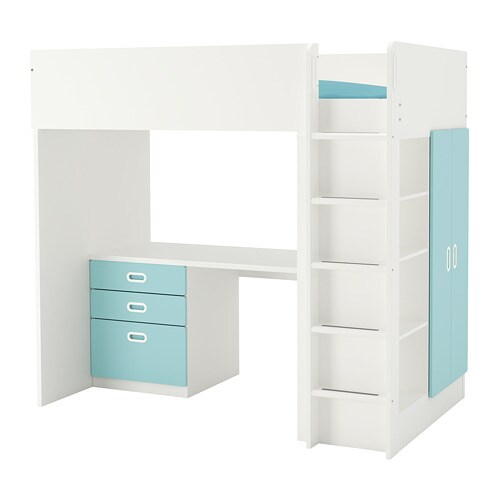 stuva fritids loft bed with 3 drawers 2 doors white. Black Bedroom Furniture Sets. Home Design Ideas