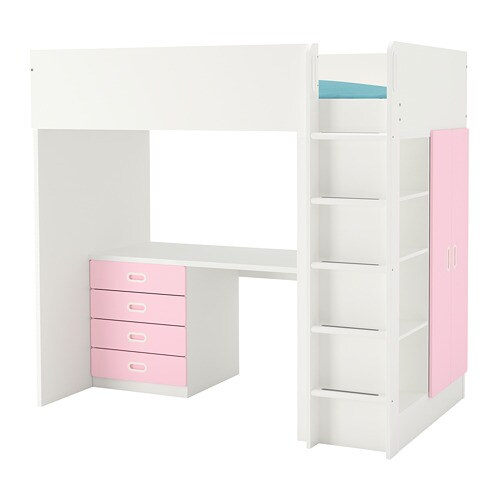 Stuva Fritids Loft Bed With 4 Drawers 2 Doors White Light Pink