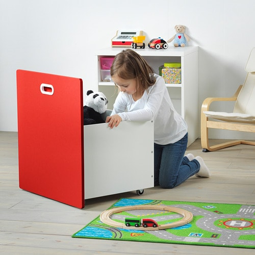 STUVA / FRITIDS - Toy box with wheels, white, red