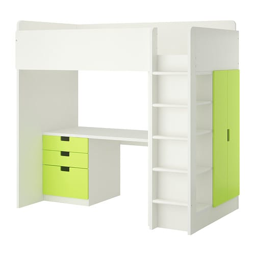 stuva loft bed with 3 drawers 2 doors white green ikea