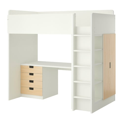 Stuva loft bed with 4 drawers 2 doors white birch ikea - Loft bed with drawers underneath ...
