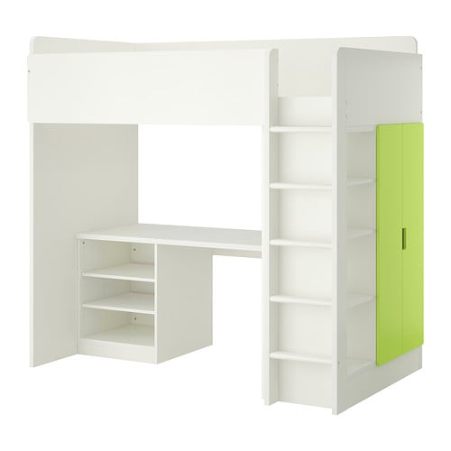 Kinderhochbett ikea  STUVA Loft bed with 2 shelves/2 doors - white/green - IKEA