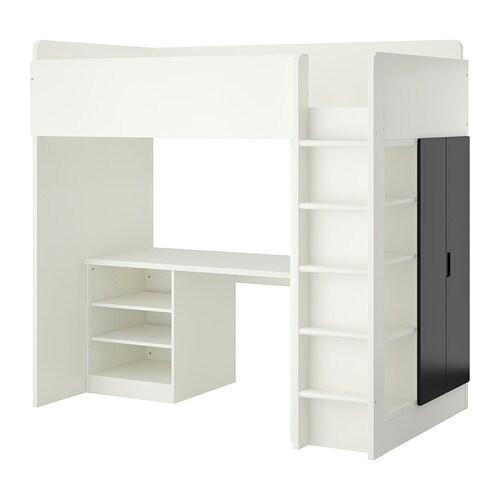 STUVA Loft bed with 2 shelves/2 doors, white, black white/black Twin