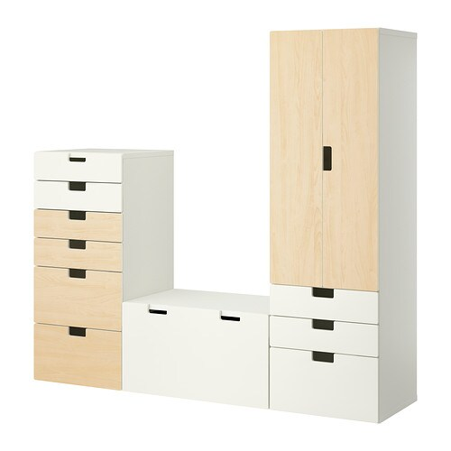 STUVA Storage combination IKEA Deep enough to hold standard-sized adult hangers.  Doors with silent soft-closing damper.