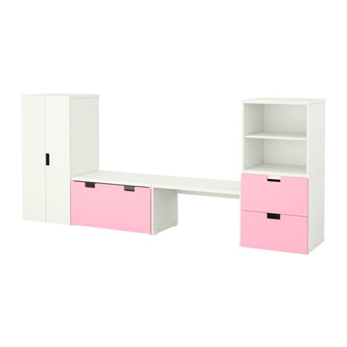 STUVA Storage combination with bench IKEA Doors, drawers and boxes are both protective and decorative.   Choose the ones you like the best.