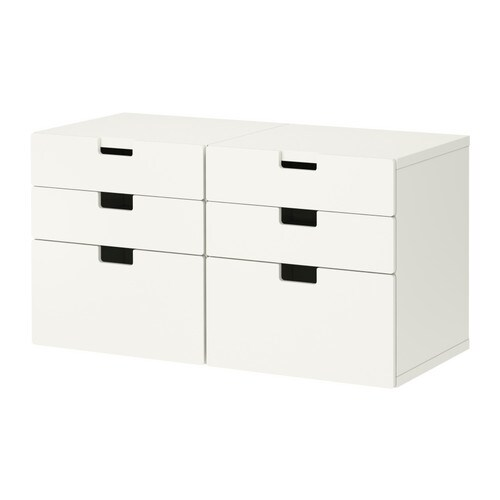 STUVA Storage combination with drawers IKEA Low storage to match your child's height; makes it easier for them to reach and organize their things.