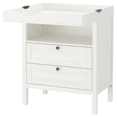 "SUNDVIK changing table/chest white 31 1/8 "" 20 1/8 "" 34 1/4 "" 18 1/8 "" 39 "" 42 1/2 "" 7 1/8 "" 30 lb"