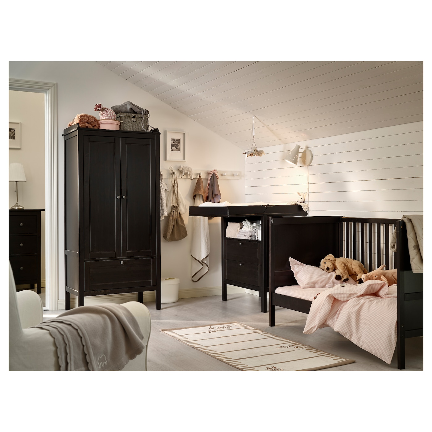 SUNDVIK - Crib, black-brown