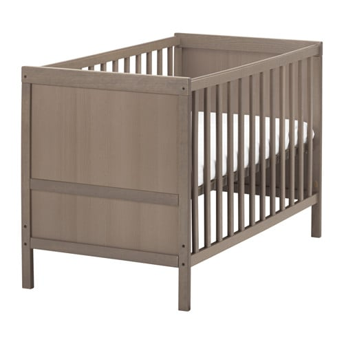 SUNDVIK Crib, gray-brown gray-brown 27 1/2x52