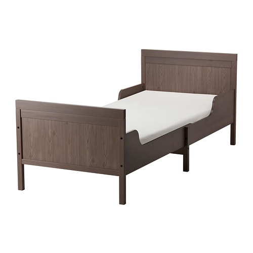 SUNDVIK Ext bed frame with slatted bed base, gray-brown gray-brown 38 1/4x74 3/4