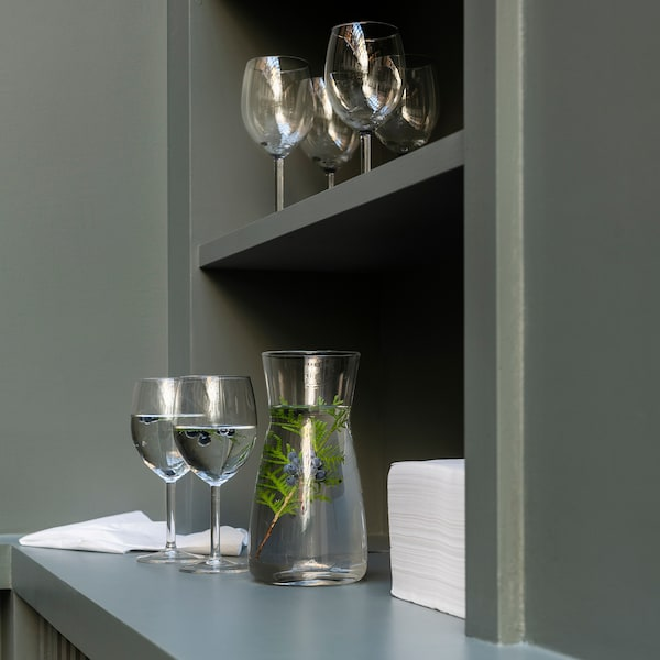 SVALKA Wine glass, clear glass, 10 oz