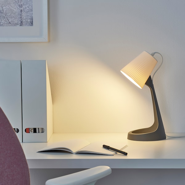 "SVALLET work lamp with LED bulb dark gray/white 8.6 W 14 "" 6 "" 4 "" 6 ' 7 """