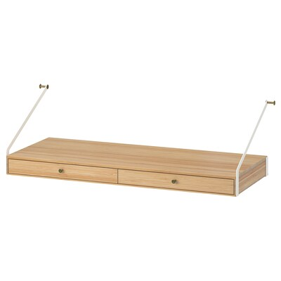 """SVALNÄS desk top with 2 drawers bamboo 31 7/8 """" 13 3/4 """" 13 3/4 """" 9 7/8 """" 55 lb"""
