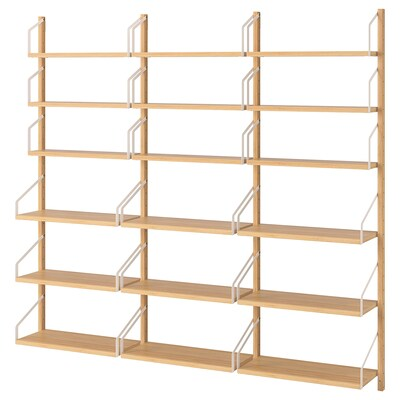 SVALNÄS Wall-mounted shelf combination, bamboo, 76x9 7/8x69 1/4 ""