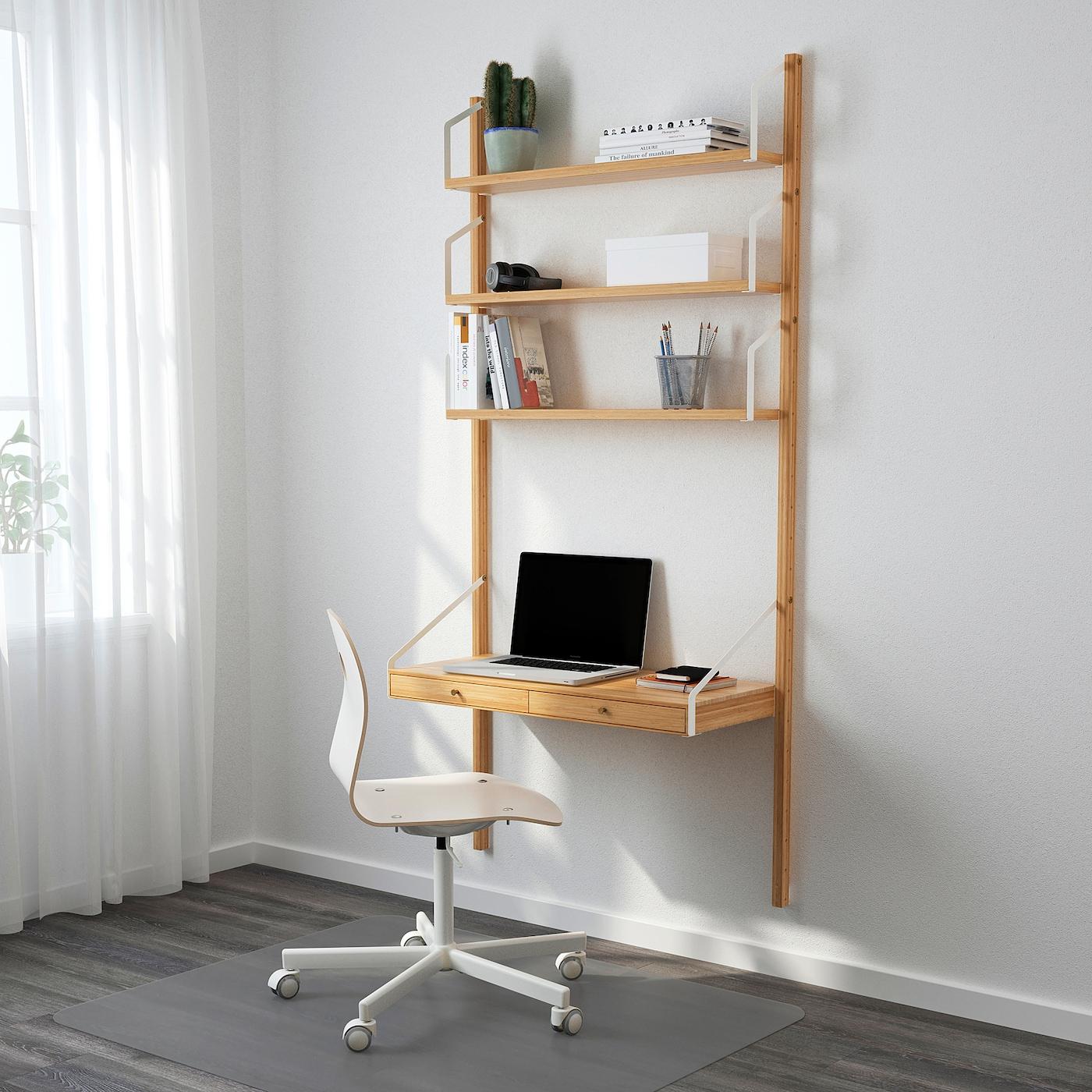 Svalnas Wall Mounted Storage Combination Bamboo 33 7 8x13 3 4x69 1 4 Ikea