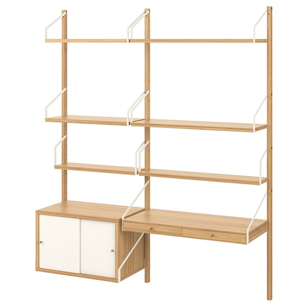 """SVALNÄS Wall-mounted workspace combination, bamboo/white, 59x13 3/4x69 1/4 """""""