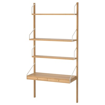 """SVALNÄS wall-mounted workspace combination bamboo 33 7/8 """" 13 3/4 """" 69 1/4 """""""