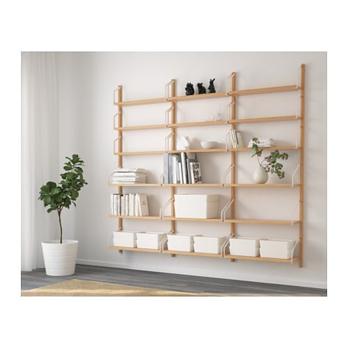 SVALNÄS Wall-mounted shelf combination, bamboo