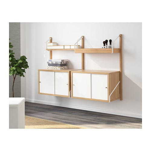 svalns wallmounted storage combination ikea with a spacious storage solution everything has its place